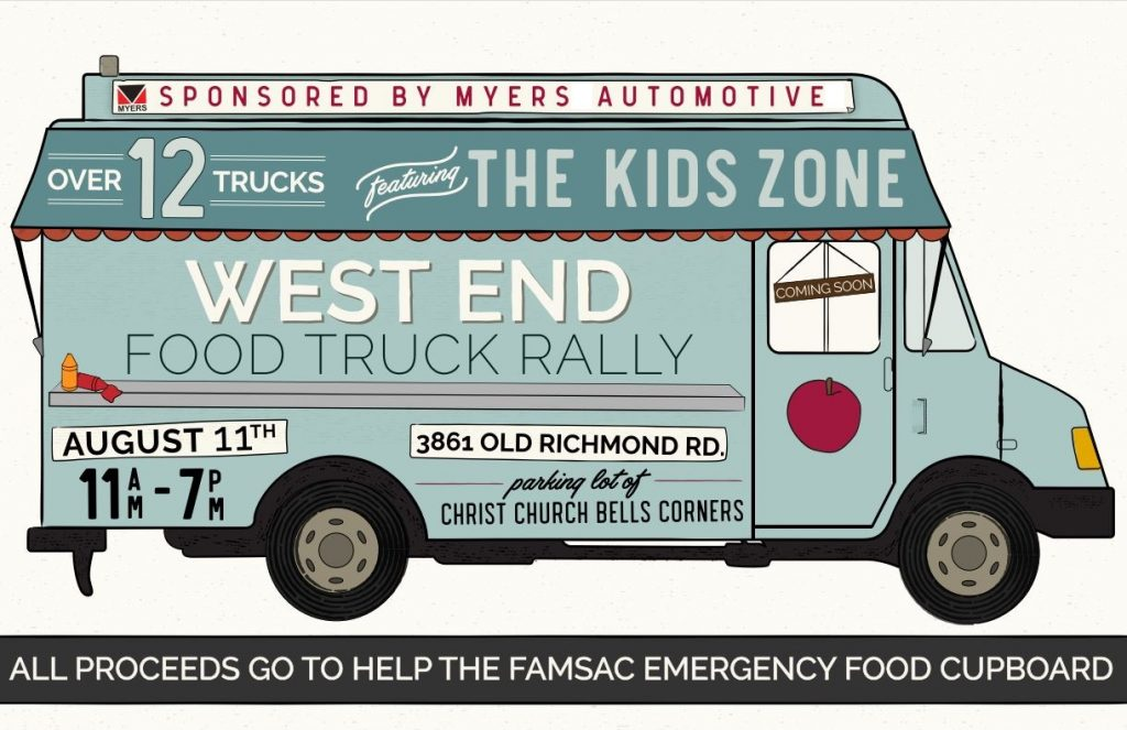 West End Food Truck Rally, August 18, 11-7 at Christ Church Bells Corners