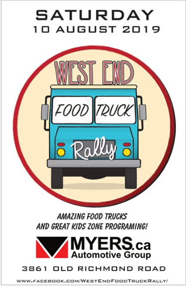 Poster promoting the West End Food Truck Rally on Saturday, August 10